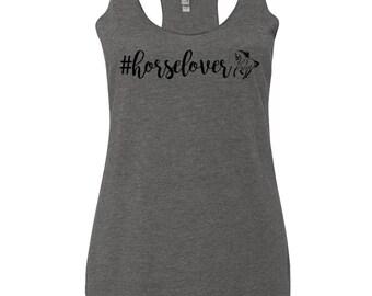#Horselover Equestrian Tank Top - Dark Heather Gray