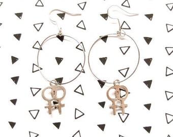 Feminist Hoop Earrings, Venus Symbol Earrings, Feminist Earrings, Woman Symbol Jewelry, Feminist Symbol, Earrings, Hoop Earrings