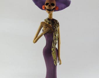 FANCY CATRINA with shawl stole mexican folk art, day of the dead clay figure