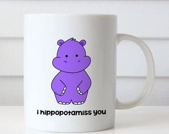 Funny Miss You Gift Goodbye Farewell Hippo Pun Coffee Mug Quote Mugs For Friend Birthday Cute Fun Missing Thinking Of Gifts Mugs Her Him