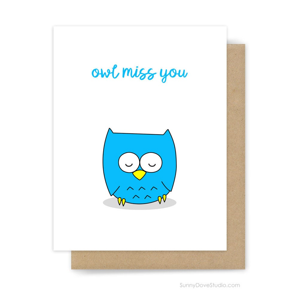 funny goodbye card for friend i'll miss you owl pun