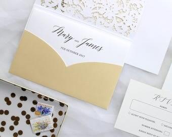 Gold Wedding Invitation, Gold Wedding Invite, Pocket Wedding Invitations, Pocket Wedding Invite, Glam Wedding Invite