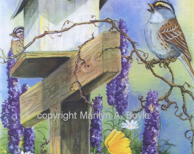 PRINT-WHITE THROATED Sparrows, birdhouse, delphinians, yellow poppies, garden, wall art, 8 x 10 inch,