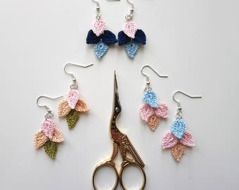Extra Light Cascade Leaf Crochet Earrings