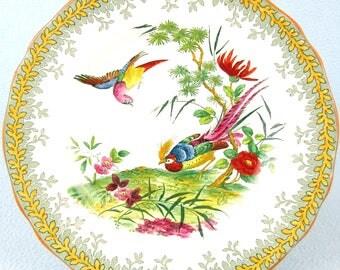 Striking Antique Plate, Copeland Spode, Spring Pattern, 739640, Exotic Pheasants, Golden Pheasant, Colorful Plate, Dessert Plate, Unique