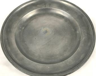 Antique Victorian Pewter Plate, Pewter Dish, Superb Decorative Display Piece, 1800's Pewter, Great Collectible, Owner's Initials, Unique