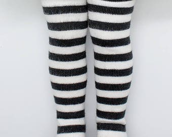 Black and white striped Knee-high socks