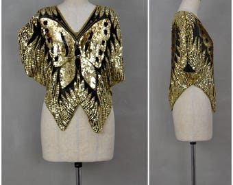 Vintage 1980's Evening Top, Black / Gold sequin Butterfly top, Beautifully embellished loose fit, short sleeved party shirt, Disco