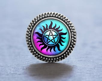 Supernatural Ring, Antiposession Tattoo, Supernatural Fan, Supernatural Jewelry, Sam Winchester, Dean Winchester