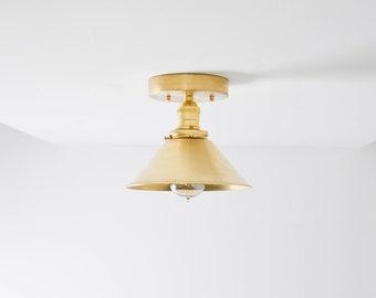Modern Semi Flush Lighting Raw Brass Gold with Metal Cone Shade Simple Minimal Kitchen Island