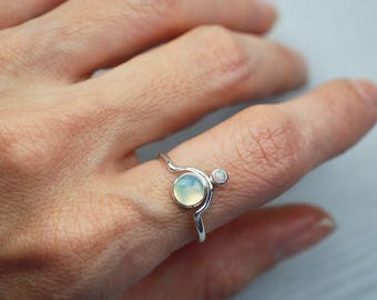 Opal ring Dainty Opal ring Opal jewelry Double Opal ring Minimalist ring Dainty ring Minimalist jewelry Dainty jewelry