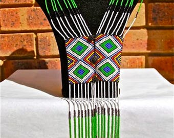African Zulu Beaded Necklace - SCARF NECKLACE - Green Red and Blue