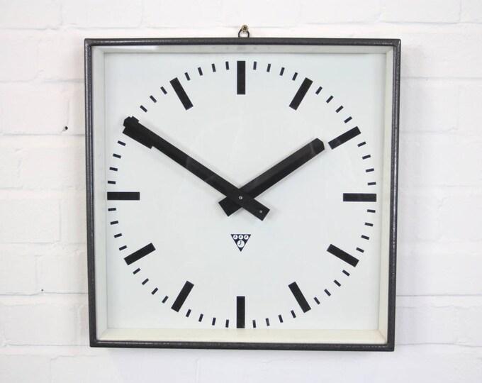 Large Graphite Grey Pragotron Clocks Circa 1960s