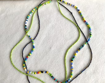 necklace, summer, seed beads, tones: lime green