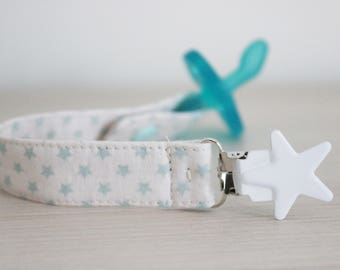 Baby blue, Star fabric pacifier clip, pacifier clip boy, pacifier holder, Soothie pacifier clip, boy pacifier clip, Binky Clips, Paci Clip