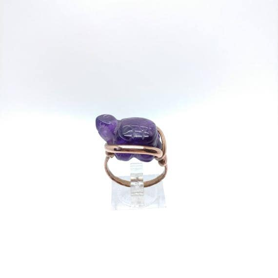 Amethyst Ring | Copper Ring Sz 8 | Turtle Ring | Gemstone Ring | Crystal Ring | February Birthstone Ring | Turtle Jewelry Gift