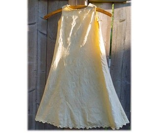 Vintage Child's Chemise or Nightgown,Cream Brushed Cotton Nightdress or Underskirt,Christening Gown,Antique Doll Dress