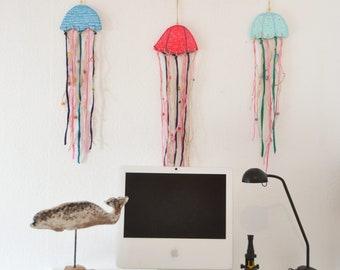 Driftwood jellyfish mobiles , ocean wall Art, home decore, sea wood wall decor, beach decore