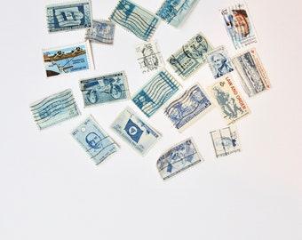 13 Blue-Themed Vintage Used Stamps |Vintage Postage |Postage Stamps| Vintage Styling Props |Vintage Wedding Stationery