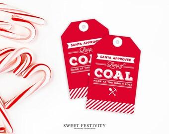 Lump of Coal Favor Tags, Christmas Favor Tags, Christmas Candy Tags, Christmas Gift Tags, Christmas Party Tags, Stocking Stuffer Printable