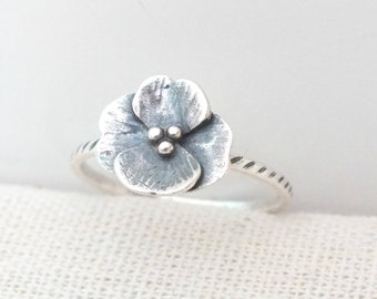 Sterling Silver Flower Ring, Silver Stacking Ring, Simple Silver Ring, Delicate Silver Flower Ring, Silver Poppy Ring, Textured Flower Ring
