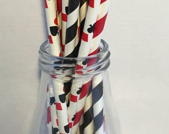 Poker Party Mix Paper Straws, Mason Jar Straws, Party Decor, Straws, Red, Black, Spades, Clubs, Hearts, Diamonds, Cards