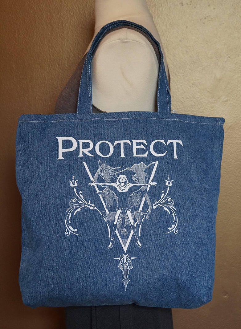 """Tote Bag """"Protect"""" White Ink on Denim"""