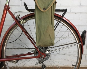 25% OFF French WWII Military Surplus Gas Mask Bag Vintage Bicycle Pannier Green Canvas