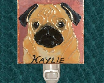 Personalized Pug Dog Gift Choose Colors Suncatcher or Night Light Pug Ornament Stained Glass Pug Memorial Pug Decor Art Gift for Pug Lover