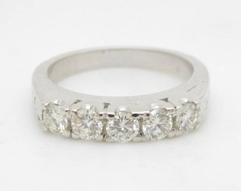 Solid 14K White Gold 0.50cttw H-VS Round Brilliant Diamond Wedding Band Ring Sz 6; sku #2502