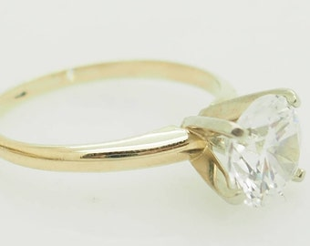 14K Yellow Gold 1.75 Carat Round Cubic Zirconia Solitaire Engagement Ring 6.25; sku # 4840