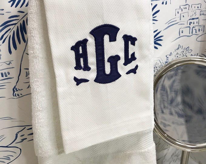 Featured listing image: Monogram Applique Hand Towel / Guest Towel