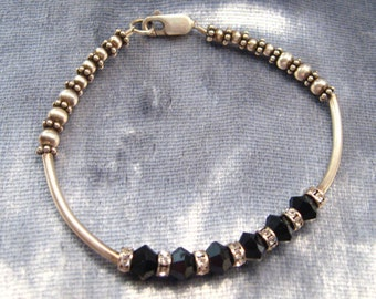 Vintage Bracelet Sterling Silver and Faceted Onyx  Beads Small to Medium Wrist 6 Inches #B-1