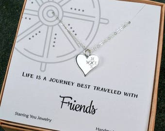 Gifts for Friends, Best Friend Compass Necklace, Unique Friendship Gifts, Best friend Jewelry, Heart Compass, Sterling Silver, Message Card