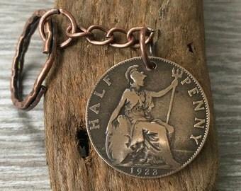 95th birthday gift, 1923 British coin keychain, English halfpenny keyring, britannia key chain,  UK present for dad, grandad, great grandad
