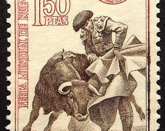 Matador and the bull, Spain -Handmade Framed Postage Stamp Art 22519AM