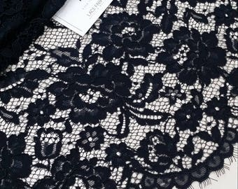 Black lace fabric by the yard, France Lace, Alencon Lace, Bridal lace, Wedding Lace, Embroidery lace, Dress lace, Lingerie Lace L21937