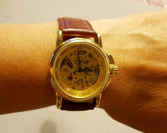 Vintage style Lady's Mechanical Gold tone Wristwatch Skeleton Watch with Leather Strap