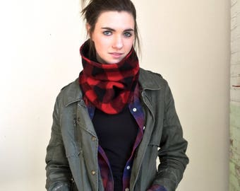 LUMBERJACK  Buffalo Check Plaid wool cowl neckwarmer Lined Warm Cozy Fall Autumn Winter Fashion Unisex