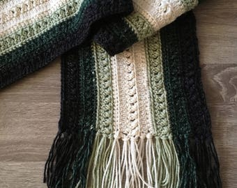 Green Hand Crocheted Scarf