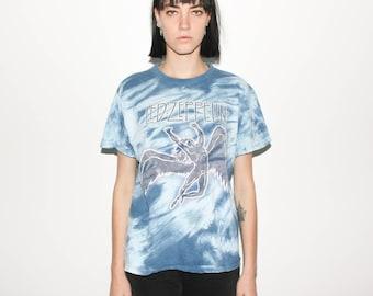 80s Led Zeppelin Tie Dye 1984 Swan Song Promo T Shirt