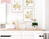 Woodland Nursery Decor, Nursery Art, Quote Poster, Kids Room Decor, Baby Room Decor, Be Brave, Nursery Wall Art, Be Kind