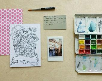 anniversary gift | custom aluminum love note | mechanical heart |  with print & envelope