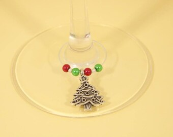 Christmas set of 6 Wine Glass Charms - wine lovers gift, stocking filler,