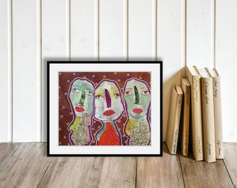 Original Outsider Folk Art Brut Faces Painting Quirky Whimsical People Portrait Figures Mixed Media Collage Unusual Contemporary Wall Decor