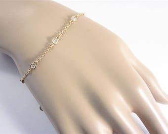 Dainty Vintage Landau Clear Crystal Bracelet