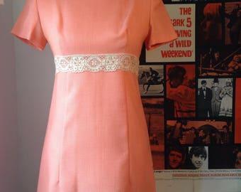 1960s PEACH mini summer dress size small