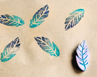 Feather stamp - hand carved  stamp - carved rubber stamp block  - artistic card making stamp - craft stamp - art supplies