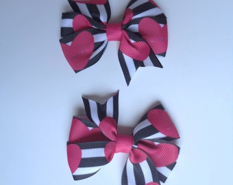 Hearts pigtail hair bows/ Valentine's day pigtails