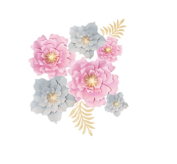 Paper flower wall decor set paper flower backdrop large paper il570xn mightylinksfo